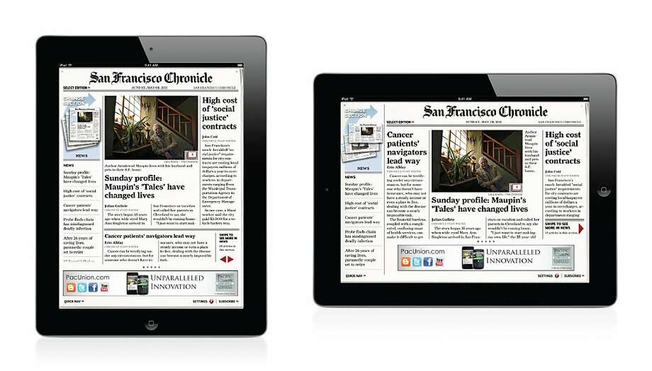 The San Francisco Chronicle iPad app Photo: The Chronicle