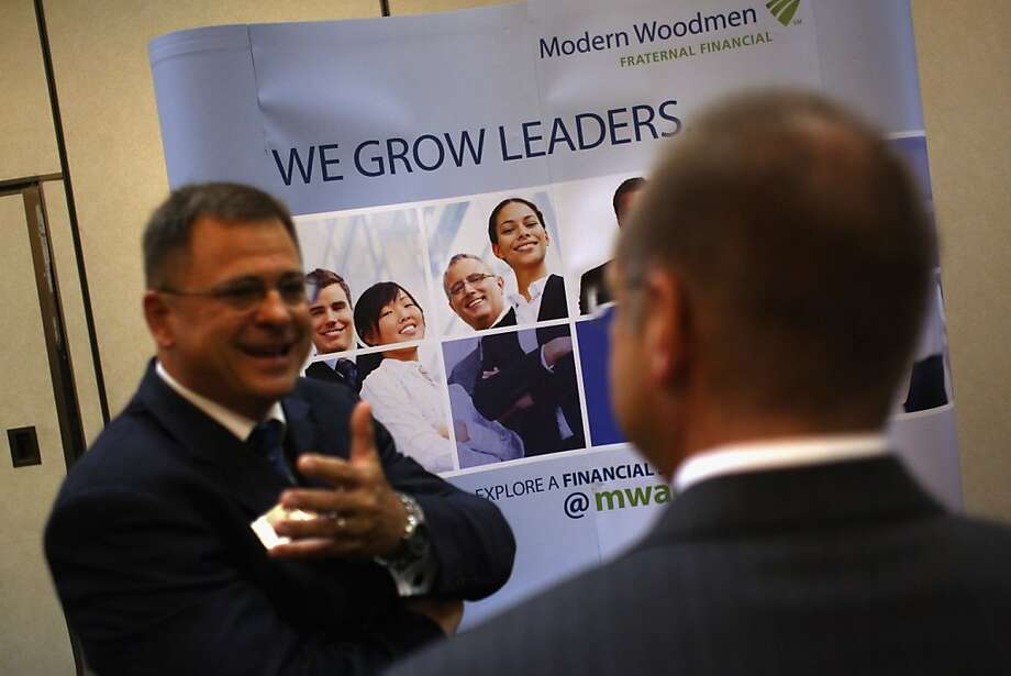 WESTMINSTER, CO - JULY 20:  Employers meet with unemployed Coloradans at a sales and management career fair on July 20, 2011 in Westminster, Colorado. The job fair, organized by United Career Fairs, featured a dozen potential employers looking to hire sales representatives and managers. Photo: John Moore, Getty Images