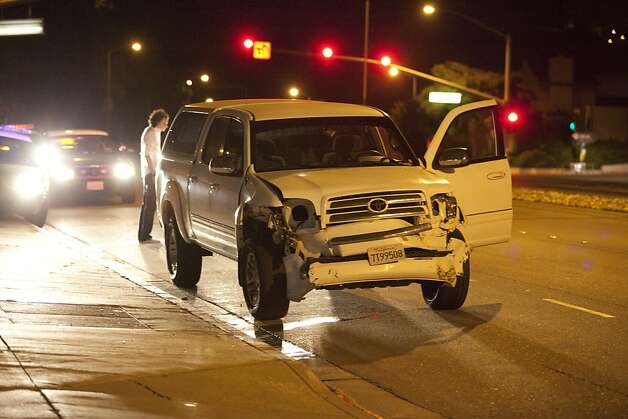 The vehicle driven by hit-and-run suspect Andrew Alan Vargas, 21, is seen in Hayward on Friday morning. Photo: Aaron Lee