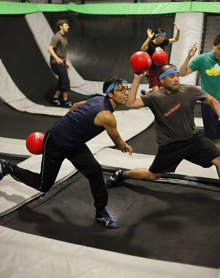 Trampoline dodgeball at the House of Air in San Francisco, California on Tuesday, June 28, 2011. Photo: Craig Lee, Special To The Chronicle