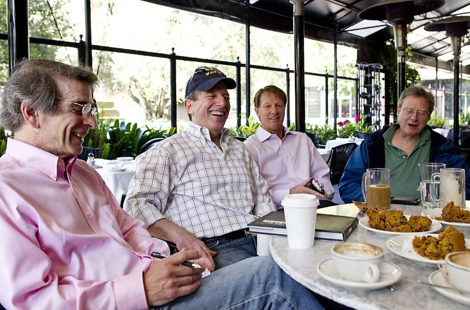 Nat Katzman, Bill Rabin, Tony Brettkelly and John de Forest (left to right) eat breakfast with other members of the Dawn Patrol at Il Fornaio in San Francisco, Calif., on Friday, June 24, 2011.  Dawn Patrol members meet every morning to play squash at the Bay Club and often meet for breakfast afterwards. Photo: Laura Morton, Special To The Chronicle