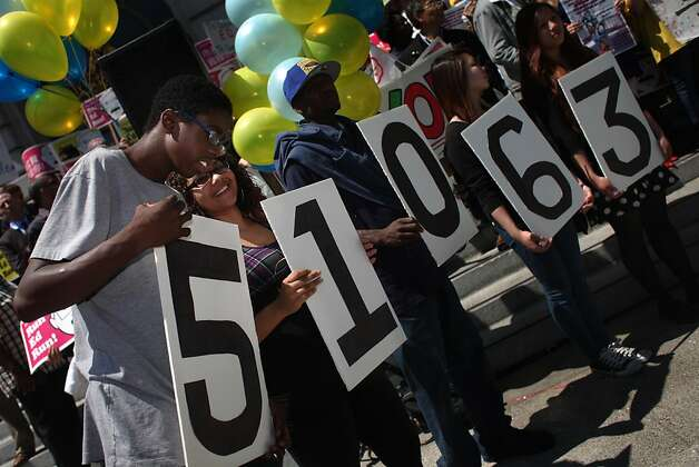 Roshawn Fonch?, 16  (left) and Alara Flin, 21 (second from left) talk as they hold the first two digits of the total number of signatures gathered by the Run Ed Run campaign during a rally at City Hall to reveal the total number of signatures the campaign has gathered to draft Ed Lee for mayor on  Monday, August 1, 2011 in San Francisco, Calif. Photo: Lea Suzuki, The Chronicle