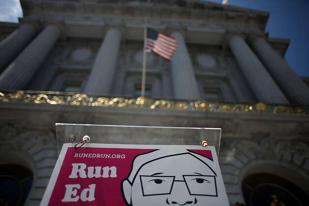 A Run Ed Run sign  is seen at City Hall after supporters hold a rally at noon to reveal the total number of signatures the campaign has gathered to draft Ed Lee for mayor on  Monday, August 1, 2011 in San Francisco, Calif. Photo: Lea Suzuki, The Chronicle