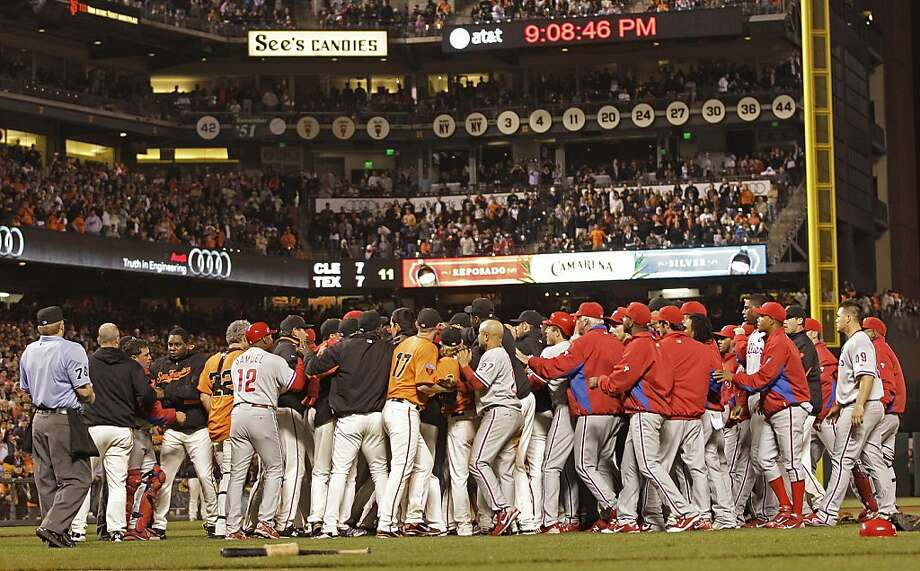 The San Francisco Giants and Philadelphia Phillies brawl during the sixth inning Friday in San Francisco. Photo: Ben Margot, AP