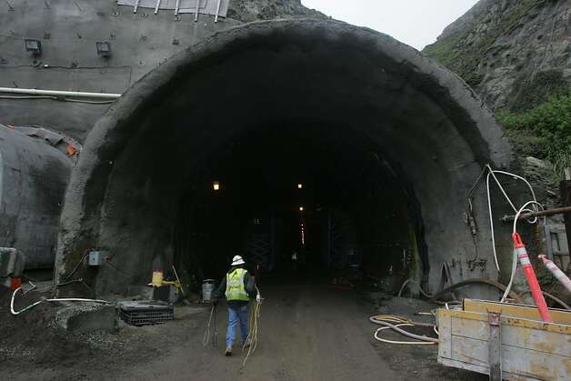 Construction continues at the south portal of the tunnel project along Devil's Slide in August 2011. Photo: Mathew Sumner, Special To The Chronicle