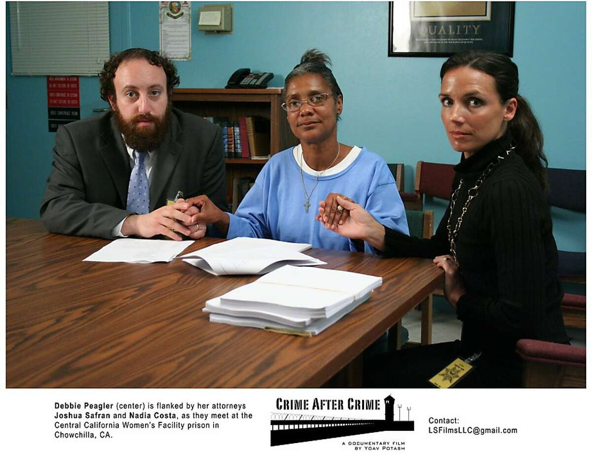 Convicted felon and domestic abuse victim Debbie Peagler (center) with her lawyers, Joshua Safran and Nadia L. Costa, in Yoav Potash's 2011 documentary
