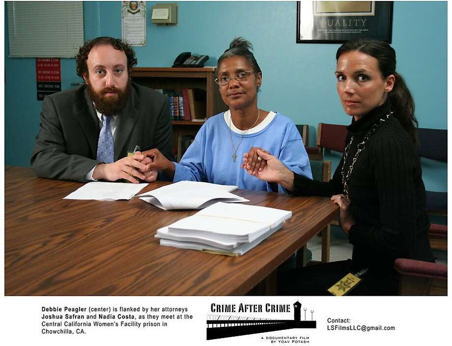 "Convicted felon and domestic abuse victim Debbie Peagler (center) with her lawyers, Joshua Safran and Nadia L. Costa, in Yoav Potash's 2011 documentary ""Crime After Crime."" Photo: Life Sentence Films"