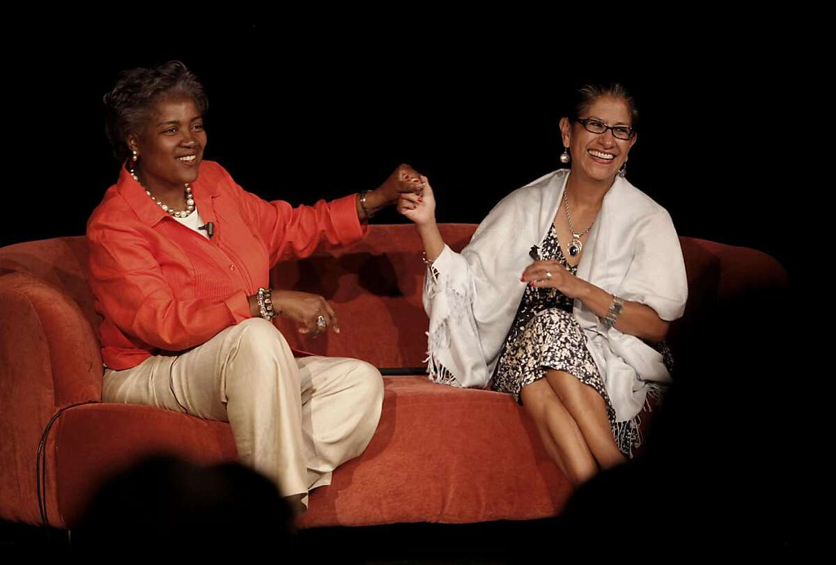 """Donna Brazile, (left) political strategist and author of """"Cooking with Gease"""" and Maria Echaveste, former Deputy chief of Staff to Bill Clinton, conclude a question and answer session at the Emerge California, summer salon at the African American Art & Cultural Center on in San Francisco, Ca. on Wednesday August 3, 2011."""