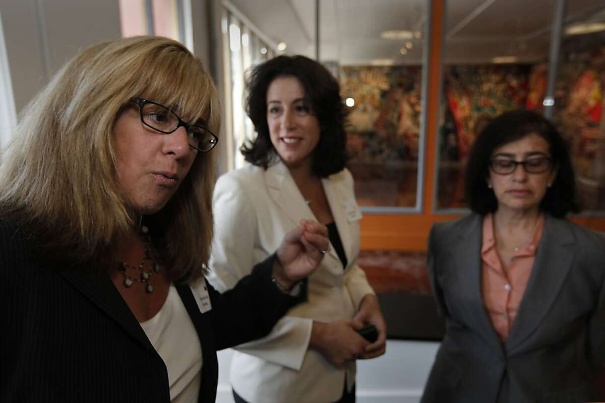 """(left to right) Sharmin Bock, candidate for San Francisco District Attorney, Christine Pelosi, Chair of the Democratic Women's Caucus and Leslie Katz, San Francisco Port Commissioner and former supervisor, attend the meeting to hear Donna Brazile, political strategist and author of """"Cooking with Gease"""", speaking at the Emerge California, summer salon at the African American Art & Cultural Center on in San Francisco, Ca. on Wednesday August 3, 2011."""