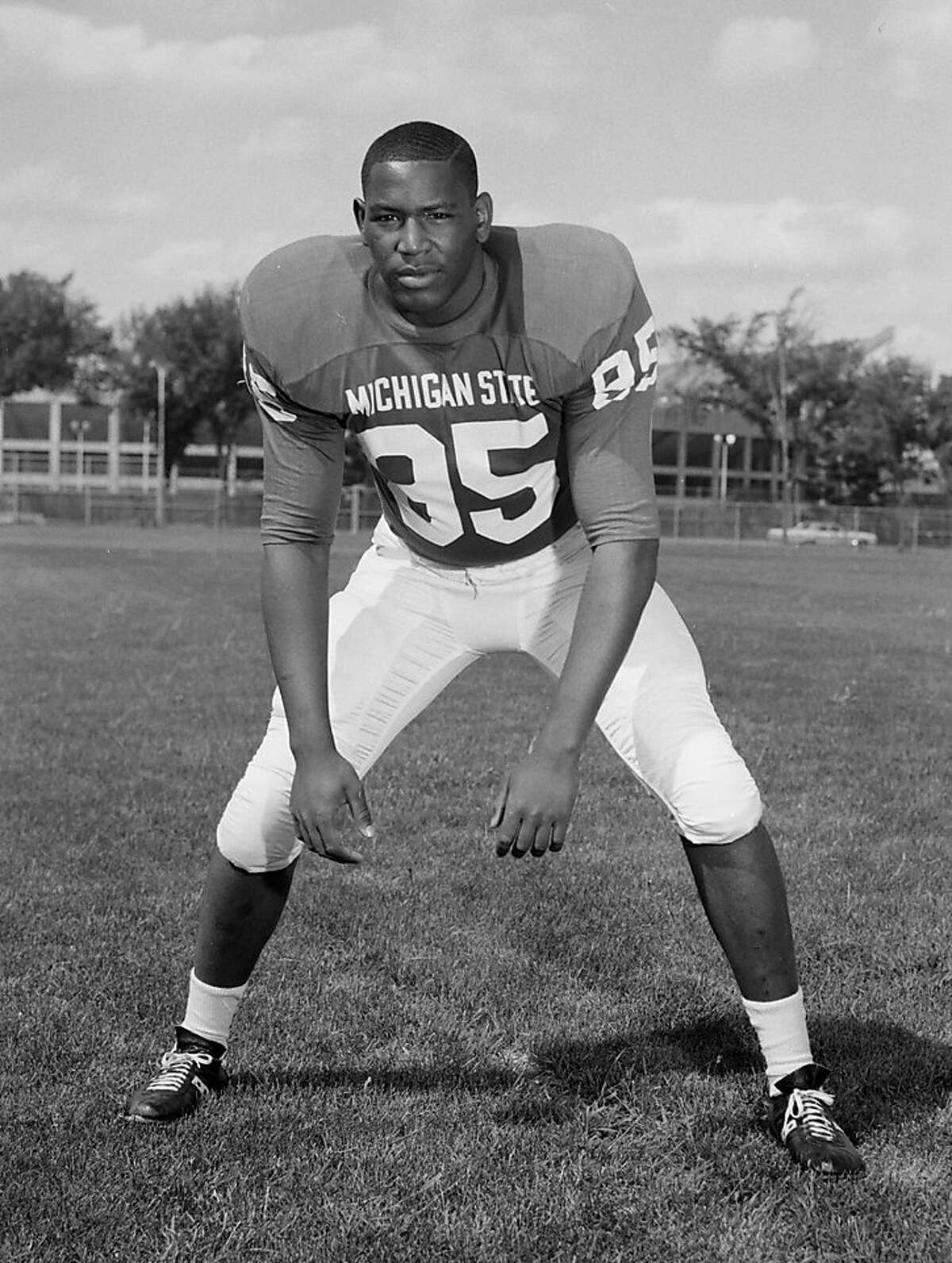 In a photo provided by Michigan State University, date not known, Michigan State football player Bubba Smith poses for a photo. The top overall pick in the 1967 draft after a sensational career at Michigan State, Smith spent five seasons with the Baltimore Colts and two seasons each with Oakland and Houston. He won the 1971 Super Bowl with the Colts. Smith, who found a successful second career as an actor, died Wednesday, Aug. 3, 2011, in Los Angeles at age 66. Los Angeles County coroner's spokesman Ed Winter said Smith was found dead at his Baldwin Hills home. Winter said he didn't know the circumstances or cause of death.