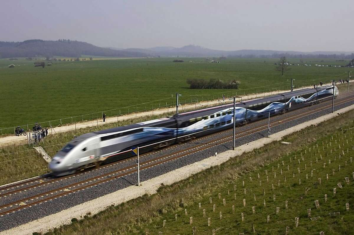 The high-speed French train broke a world speed record, on April 3, 2007, reaching 357.2 mph near Grigny in rural, eastern France. It normally runs at 185 mph.