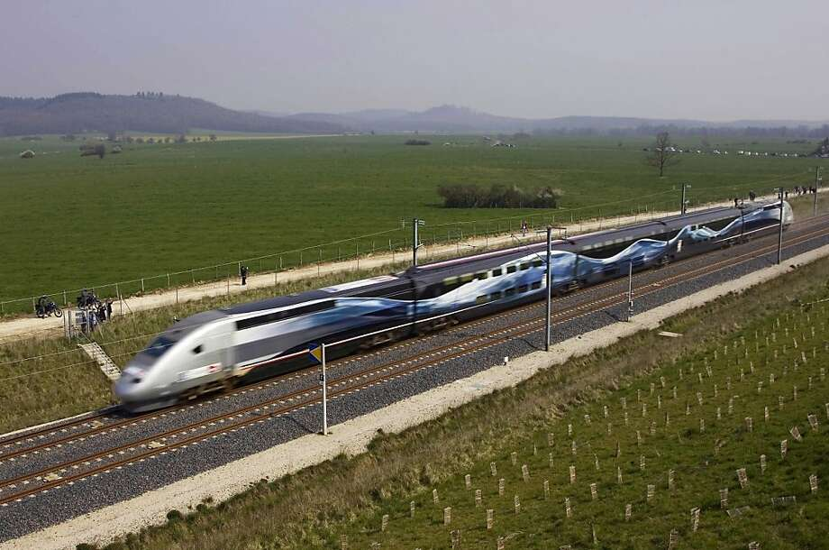 The high-speed French train broke a world speed record, on April 3, 2007, reaching 357.2 mph near Grigny in rural, eastern France. It normally runs at 185 mph. Photo: Fabbro Leveque Recoura, AP