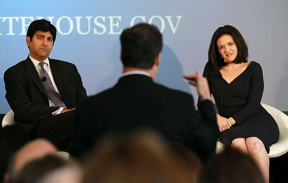 PALO ALTO, CA - AUGUST 02:  Aneesh Chopra (L), Chief Technology Officer of the United States, and Facebook COO Sheryl Sandberg (R) field a question from the audience during the President's Council on Jobs and Competitiveness High Growth Business and Entrepreneurship Listening and Action Session at the VMware headquarters on August 2, 2011 in Palo Alto, California.  Jobs Council members, administration officials and Silicon Valley leaders spoke with entrepreneurs about how public and private sectors can partner to create jobs through innovation. Photo: Justin Sullivan, Getty Images
