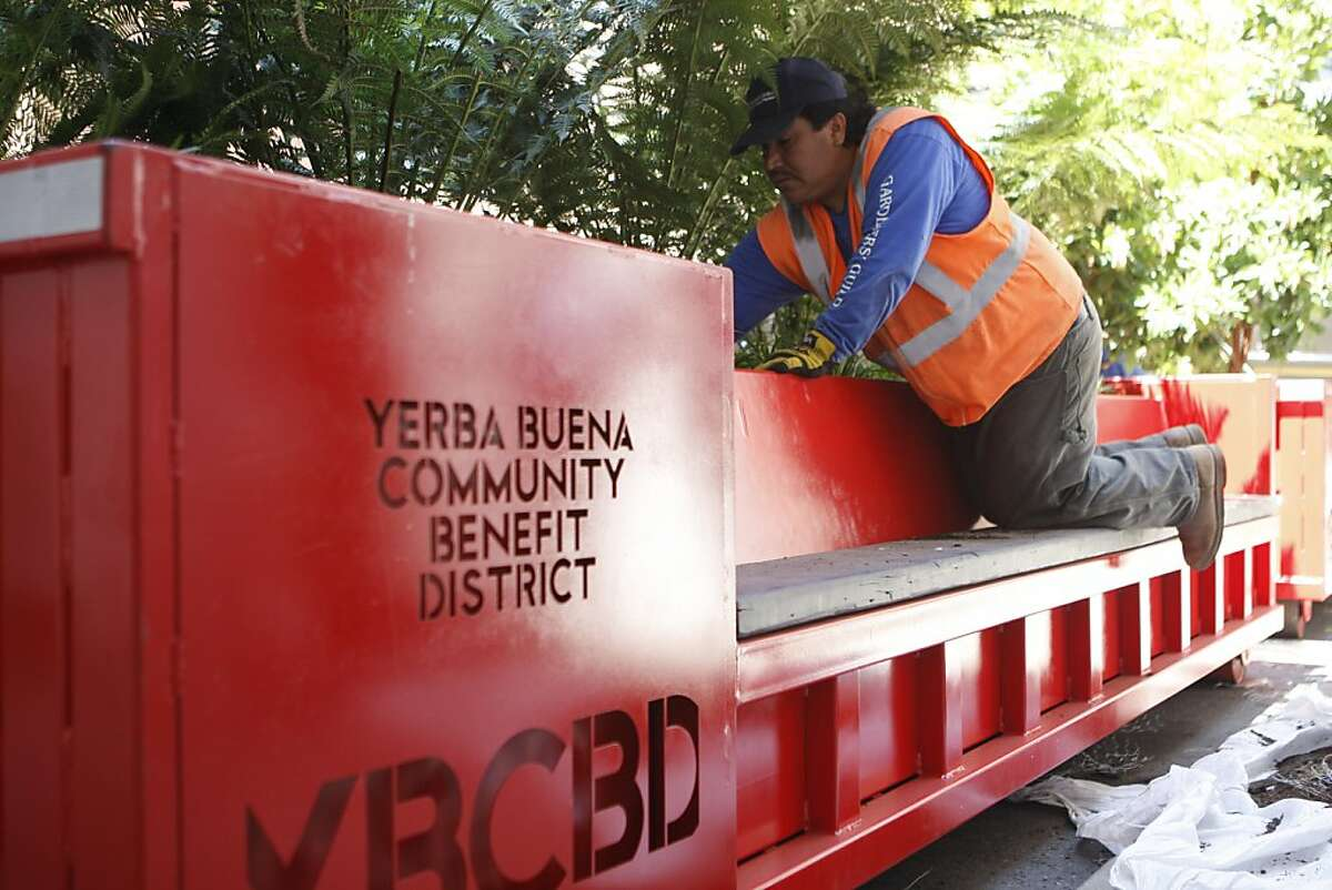 Pedro Mendez, works on the Yerba Buena park mobiles on Monday, August 1, 2011 in San Francisco, Calif. The park mobiles will be placed through out Yerba Buena Gardens area