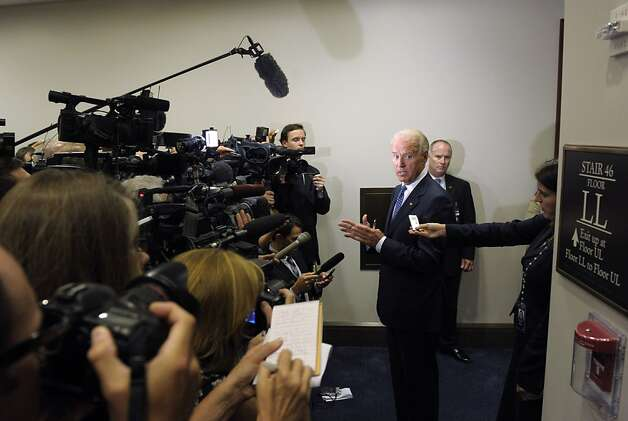 Vice President Joe Biden speaks to reporters on Capitol Hill in Washington, Monday, Aug. 1, 2011, after meeting with House Democrats to discuss debt negotiations. Photo: Susan Walsh, AP