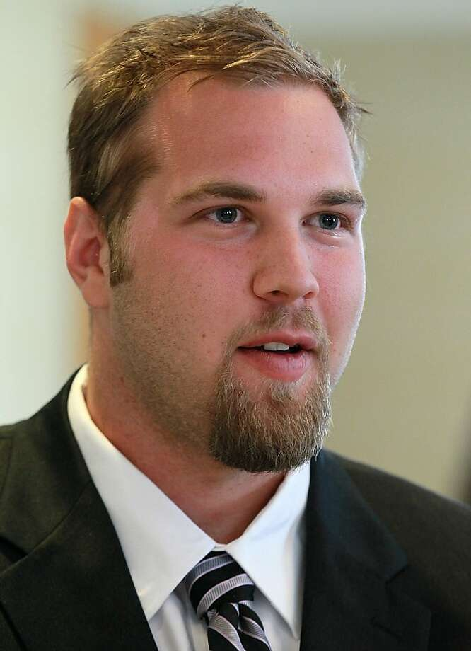 SAN FRANCISCO, CA - AUGUST 01:  California Golden Bears football offensive lineman Mitchell Schwartz speaks to reporters during the Bay Area college football media day at the Hotel Nikko on August 1, 2011 in San Francisco, California.  Players and coachesfrom Stanford, Cal and San Jose State football programs met with reporters ahead of the new season during Bay Area college football media day. Photo: Justin Sullivan, Getty Images