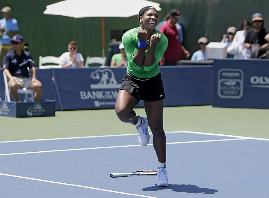 Serena Williams reacts after defeating Marion Bartoli, 7-5, 6-1,  in the finals of the Bank of the West Classic, Sunday July 31, 2011, in Stanford, Calif. Photo: Lacy Atkins, The Chronicle