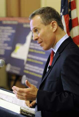 Attorney General Eric. T. Schneiderman gave some details about an ongoing investigation into the illegal sales of firearms at gun shows across the state during a press conference in the Capital in Albany, N.Y. Nov. 30, 2011.   (Skip Dickstein/Times Union) Photo: Skip Dickstein / 2011