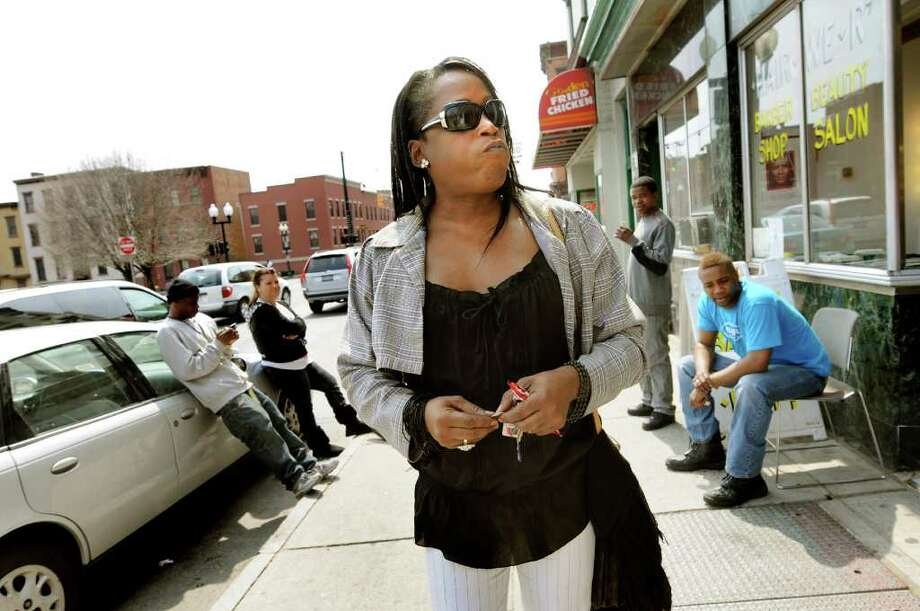 Kym Dorsey, a transgender woman, walks down Peal Street on Monday, April 11, 2011, in Albany, N.Y. (Cindy Schultz / Times Union) Photo: Cindy Schultz, Albany Times Union