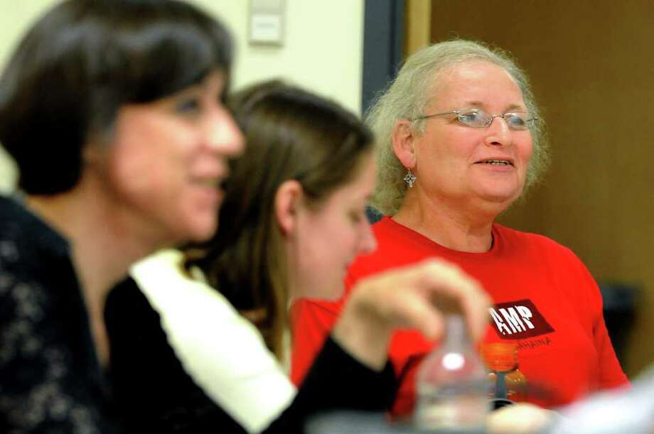 Wendy Moore of Albany, right, and Frances Lopez of Delmar, left, attend voice modification class for transgender clients on Monday, June 27, 2011, at the College of Saint Rose in Albany, N.Y. (Cindy Schultz / Times Union) Photo: Cindy Schultz, Albany Times Union
