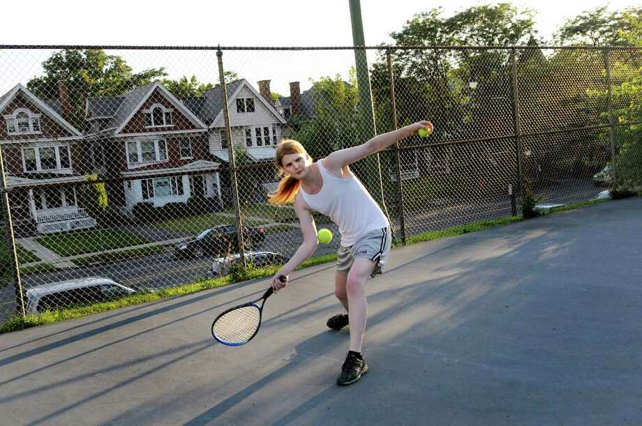 Drew Cordes plays tennis on Tuesday, Aug. 2, 2011, at Washington Park in Albany, N.Y. (Cindy Schultz / Times Union) Photo: Cindy Schultz, Albany Times Union
