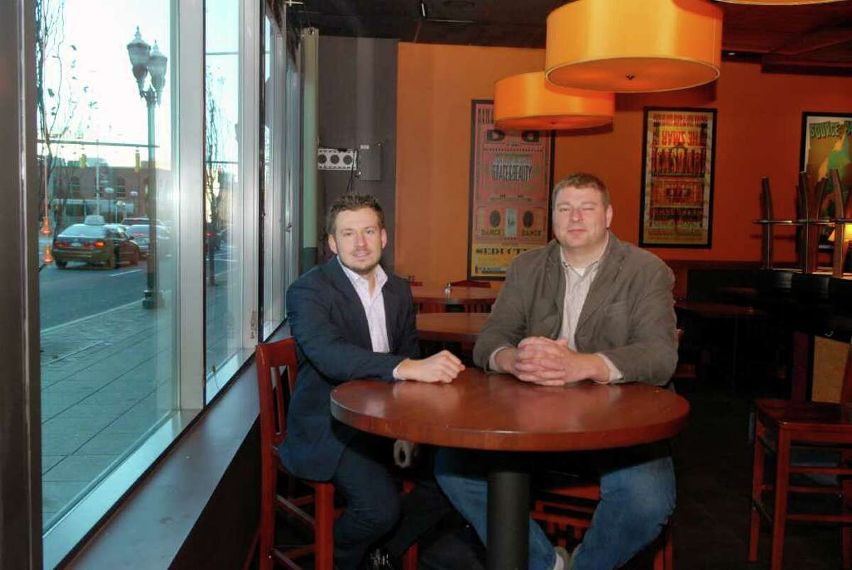 Ed Zislis and partner James Layfield, on Thursday December 1, 2011, are co-franchise owners of the new Rodizio restaurant that is going in at 5 Broad St. in Stamford, Conn.