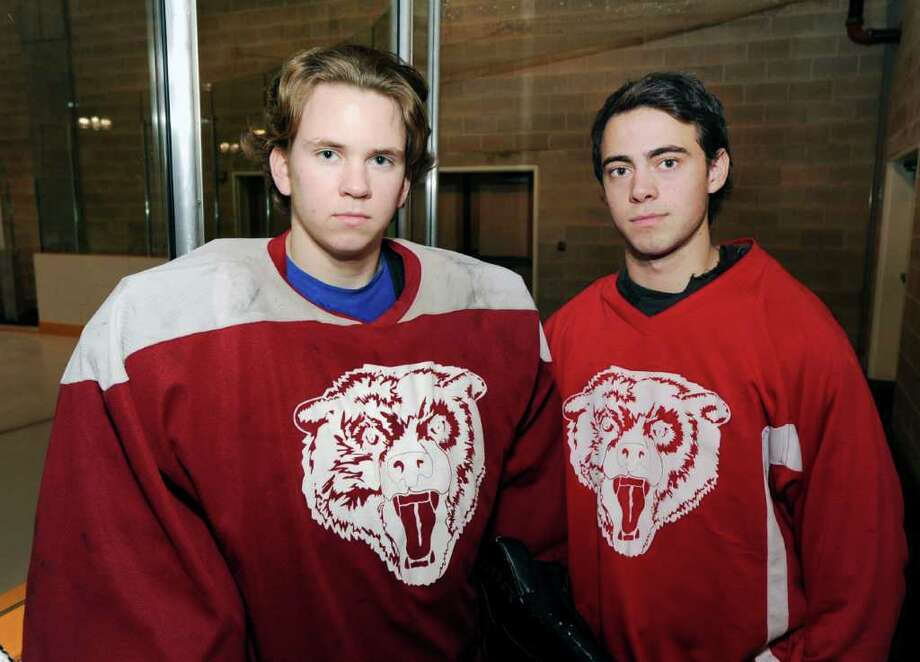Brunswick School ice hockey captains, Gryphon Richardson, left, and Luke Esposito at Brunswick School in Greenwich, Thursday afternoon, Dec. 1, 2011 Photo: Bob Luckey / Greenwich Time