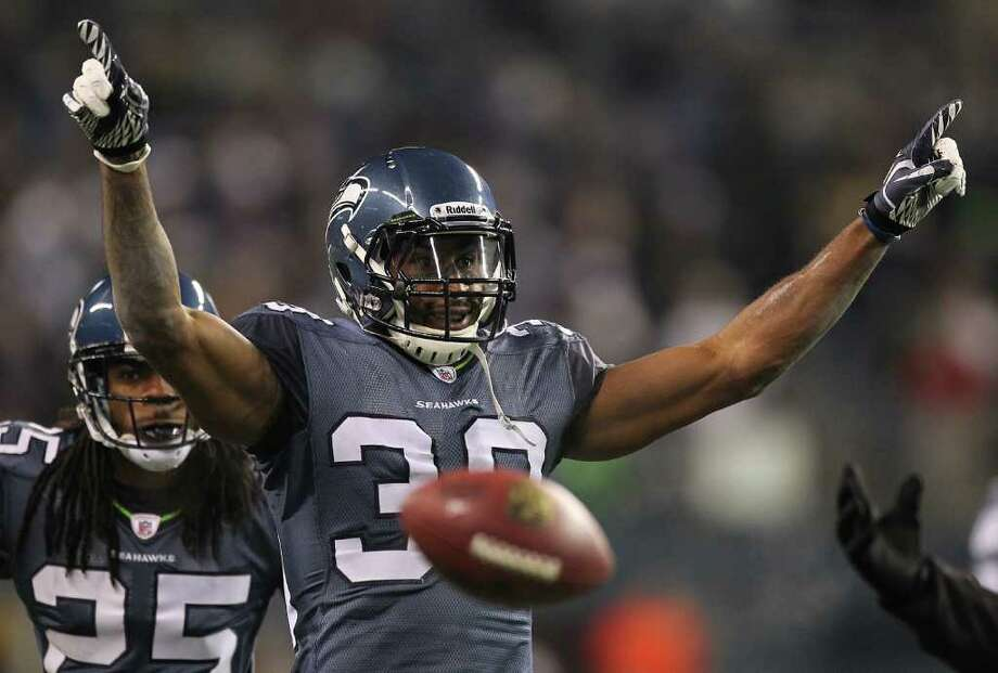 Cornerback Brandon Browner of the Seattle Seahawks celebrates after making an interception against the Philadelphia Eagles at CenturyLink Field on December 1, 2011 in Seattle, Washington. The Seahawks defeated the Eagles 34-14. Photo: Otto Greule Jr, Getty Images / 2011 Getty Images