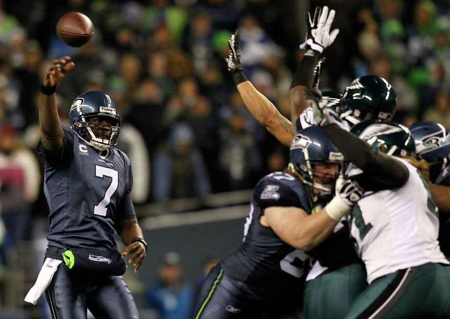 SEATTLE - DECEMBER 01:  Quarterback Tavaris Jackson #7 of the Seattle Seahawks throws a pass against the Philadelphia Eagles on December 1, 2011 at CenturyLink Field in Seattle, Washington. Photo: Jonathan Ferrey, Getty Images / 2011 Getty Images