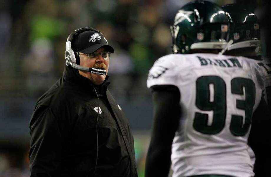 SEATTLE - DECEMBER 01:  Head Coach Andy Reid of the Philadelphia Eagles walks the sidelines against the Seattle Seahawks on December 1, 2011 at CenturyLink Field in Seattle, Washington. Photo: Jonathan Ferrey, Getty Images / 2011 Getty Images