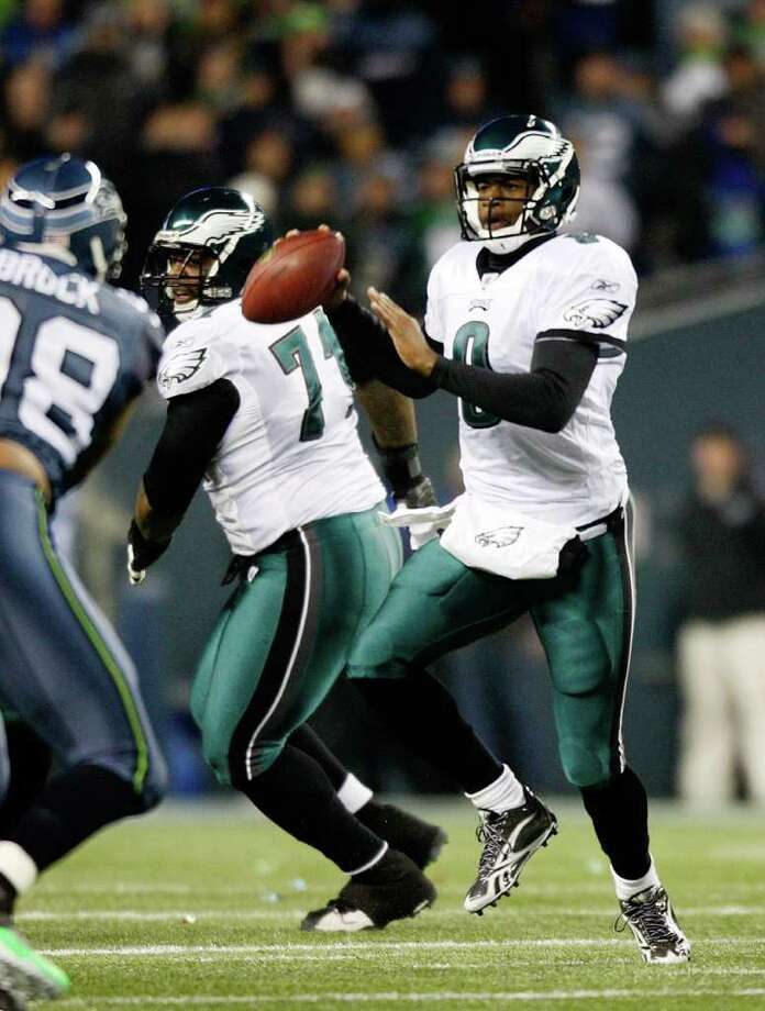 SEATTLE, WA - DECEMBER 1:  Vince Young #9 of the Philadelphia Eagles against the Seattle Seahawks at CenturyLink Field December 1, 2011 in Seattle, Washington. Seattle won 34-14. Photo: Jay Drowns, Getty Images / 2011 Getty Images