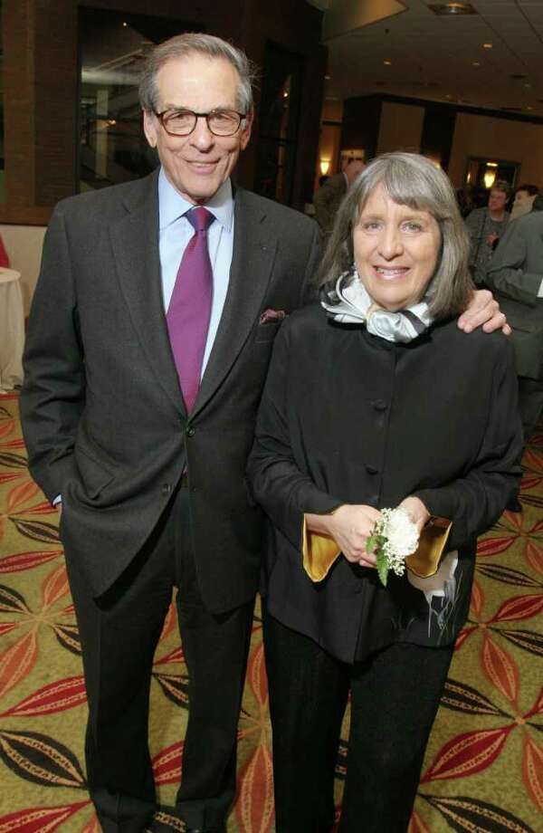 Albany, NY - April 9, 2010 - (Photo by Joe Putrock/Special to the Times Union) - 2010 Writers Hall of Fame inductees, two-time Pulitzer Prize winning author Robert Caro(left) and Janet Heidinger Kafka Prize and O. Henry Award winner Mary Gordon(right) at The Empire State Book Festival Gala and First Annual Writers Hall of Fame Induction Ceremony. Photo: Joe Putrock