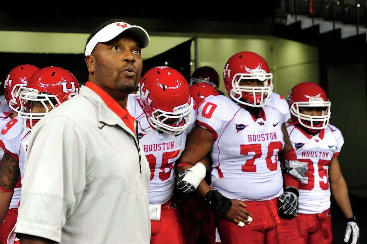 NEW ORLEANS, LA - NOVEMBER 10: Kevin Sumlin, head coach of the University of Houston Cougars waits to take the field against the Tulane Green Wave at the Mercedes-Benz Superdome on November 10, 2011 in New Orleans, Louisiana.