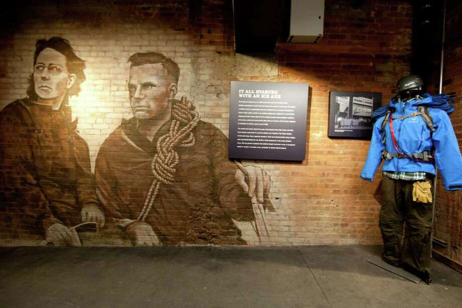 Mary Anderson and her husband, Lloyd, remembered on the wall of REI SoHo in New York. Photo: Matt Peyton, AP Images For REI / AP Images