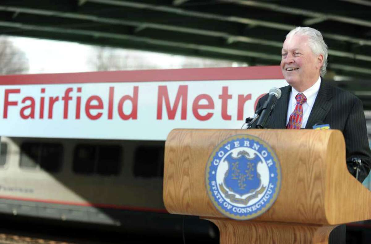 First Selectman Michael Tetreau stands on the platform at the new Fairfield Metro Station as a train passes Friday, Dec. 2, 2011 during a ceremony to mark the official opening of Fairfieldís third railroad station.