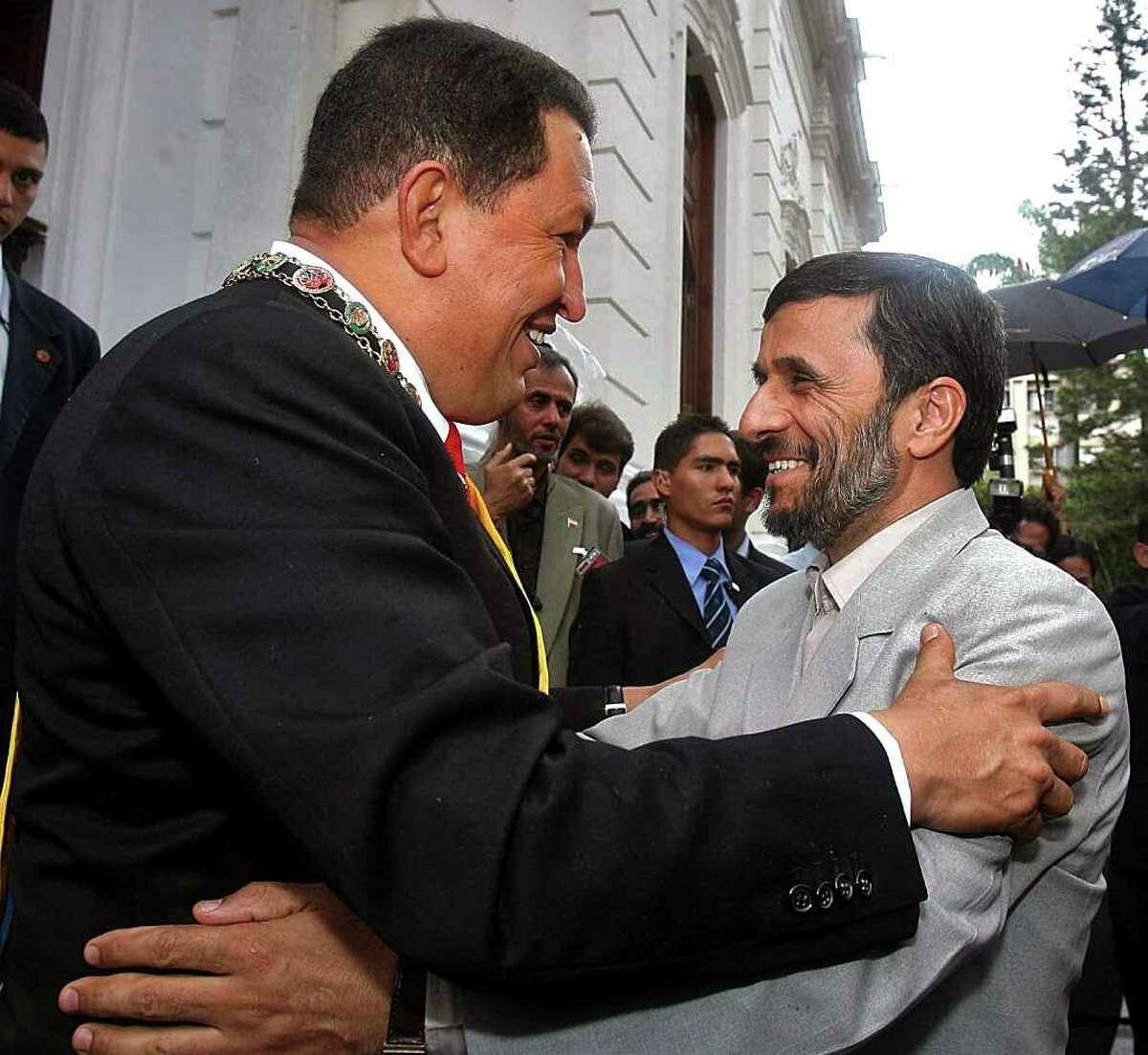 LATIN TIES: Iran's Mahmoud Ahmadinejad with Bolivia's Evo Morales, Venezuela's Hugo Chavez and Nicaragua's Daniel Ortega.