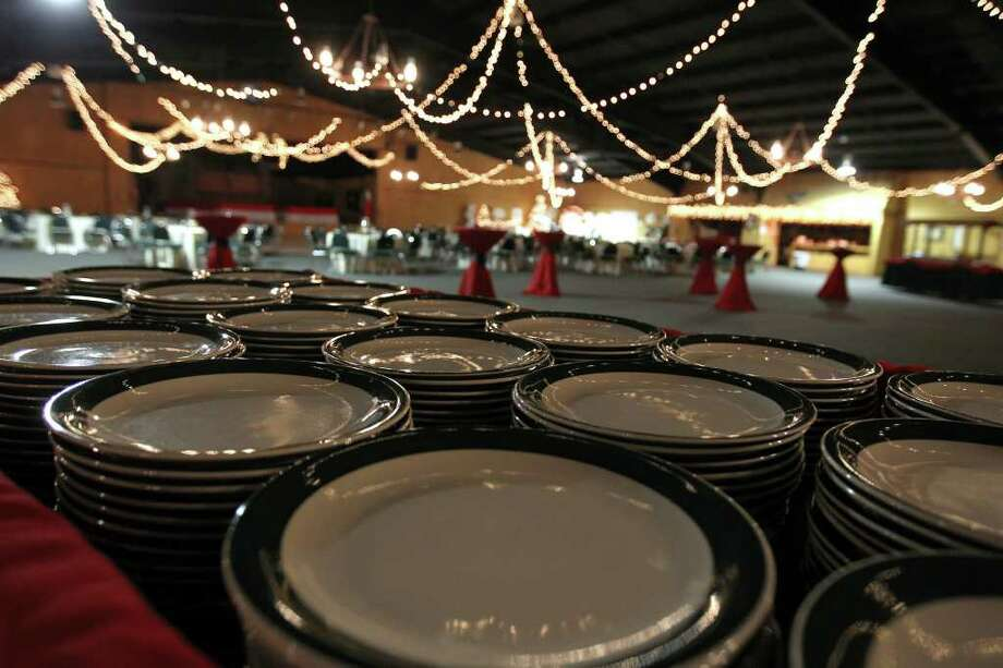 Holiday decorations in one of the banquet rooms during preparations for holiday parties at Pedrotti's Ranch, Friday, December 3, 2011. Photo: JENNIFER WHITNEY, Jennifer Whitney/ Special To The Express-News / Jennifer Whitney/special to the Express-News