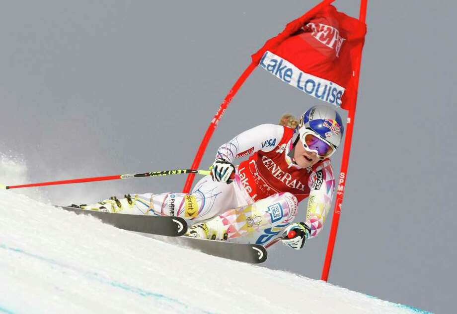 Lindsey Vonn attacks the downhill course at Lake Louise, Alberta, winning the World Cup race by 1.95 seconds - the largest victory margin in her downhill career. Photo: Alexis Boichard/Agence Zoom / 2011 Getty Images