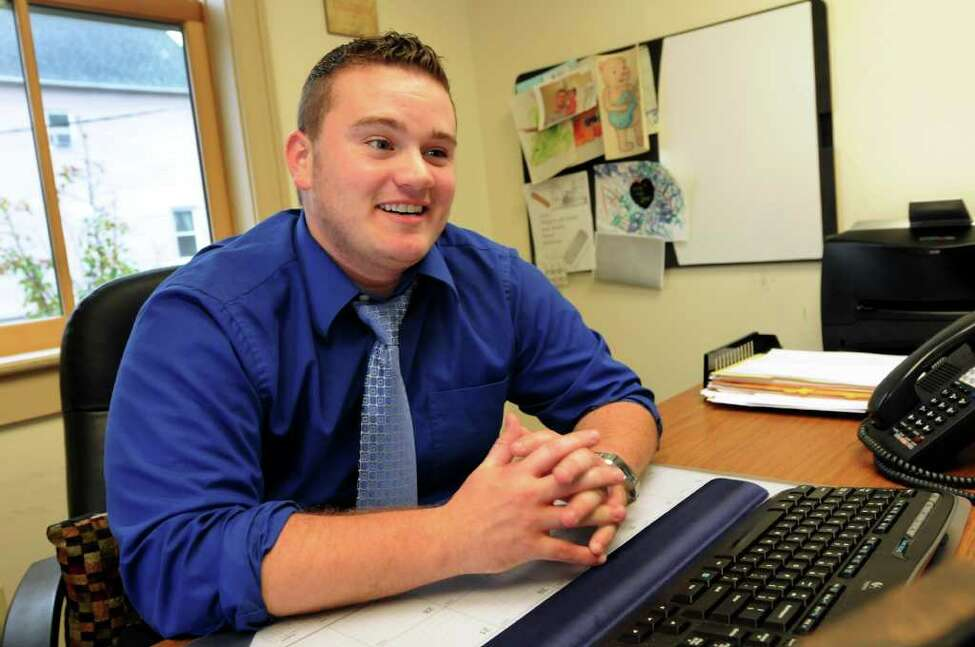 Client advocate Acey Mercer talks about being a transgender man at his job with Building Bridges on Tuesday, Oct. 25, 2011, at St. Paul's Center in Rensselaer, N.Y. (Cindy Schultz / Times Union)