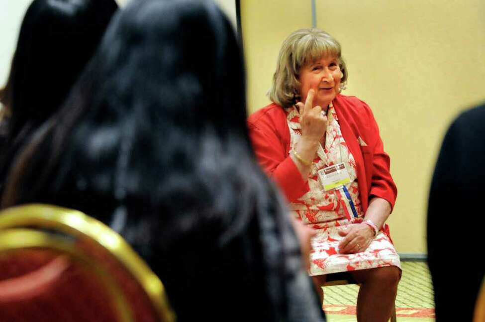 Presenter Alison Laing gives voice and speech tips for male-to-female transgenders during TransEvent 2011 on May 5, 2011, at the Crowne Plaza in Albany, N.Y. (Cindy Schultz / Times Union)