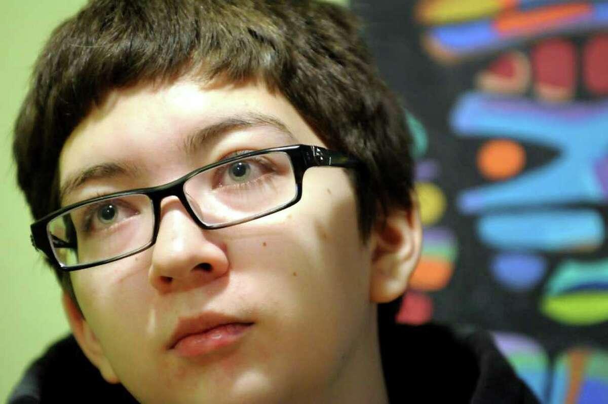 Evan LaFortune, 18, talks about being a transgender teenage boy on Tuesday, Nov. 22, 2011, at Lil' Buddha Tea in Albany, N.Y. (Cindy Schultz / Times Union)