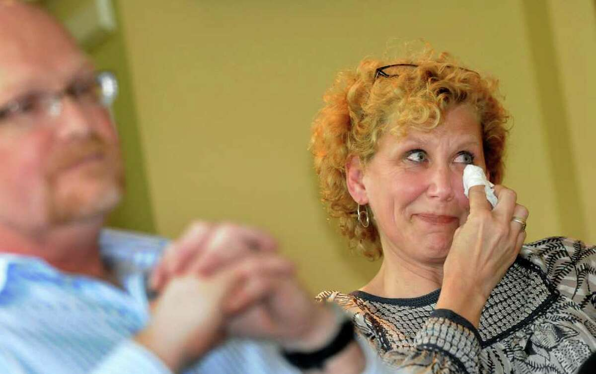 Janet Cordes of Glens Falls tears up when she and husband, John, share memories of their only child, Drew, when they arrive at the bed and breakfast facility on Sunday, May 29, 2011, at Centre Metropolitain de Chirurgie Plastique in Montreal, Quebec in Canada. Drew was scheduled to have gender-reassignment surgery the next day. (Cindy Schultz / Times Union)