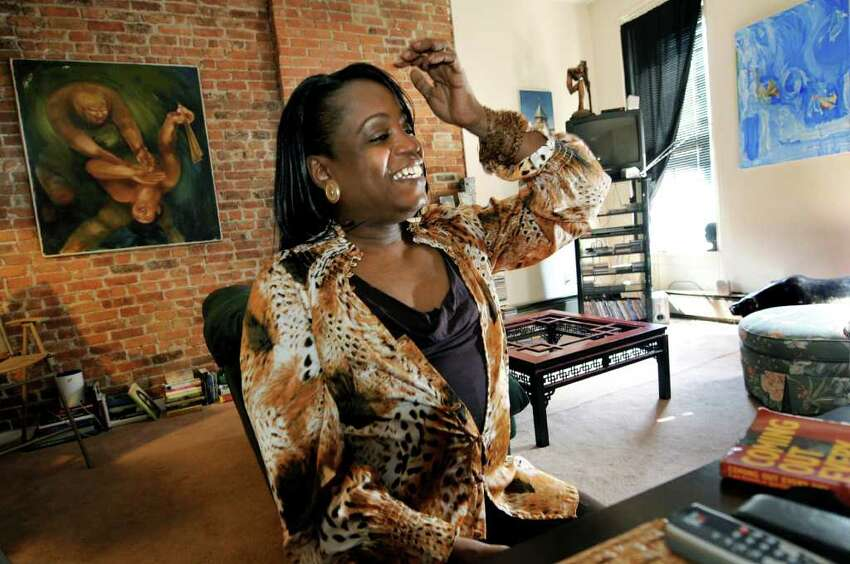 Kym Dorsey, a 47-year-old transgender woman who also leads a support group for transgender people at In Our Own Voices, on Thursday, April 7, 2011, at her home in Albany, N.Y. (Cindy Schultz / Times Union)