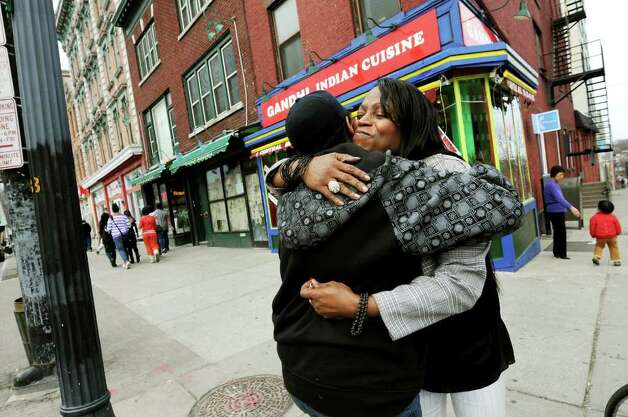 Kym Dorsey, a transgender woman, runs into a friend on Central Avenue on Monday, April 11, 2011, in Albany, N.Y. (Cindy Schultz / Times Union) Photo: Cindy Schultz