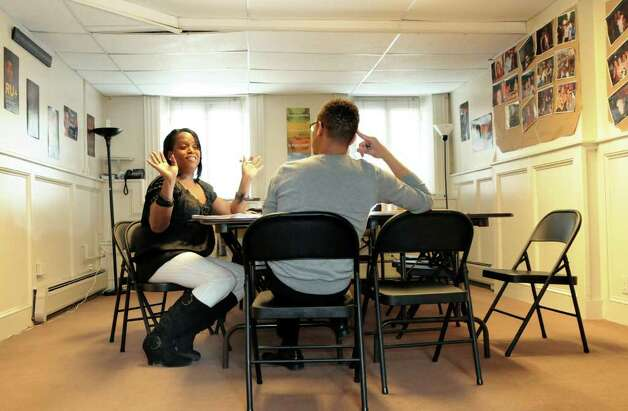 Kym Dorsey, who leads a transgender group, meets with program coordinator Jasan Ward at In Our Own Voices on Monday, April 11, 2011, in Albany, N.Y. (Cindy Schultz / Times Union) Photo: Cindy Schultz