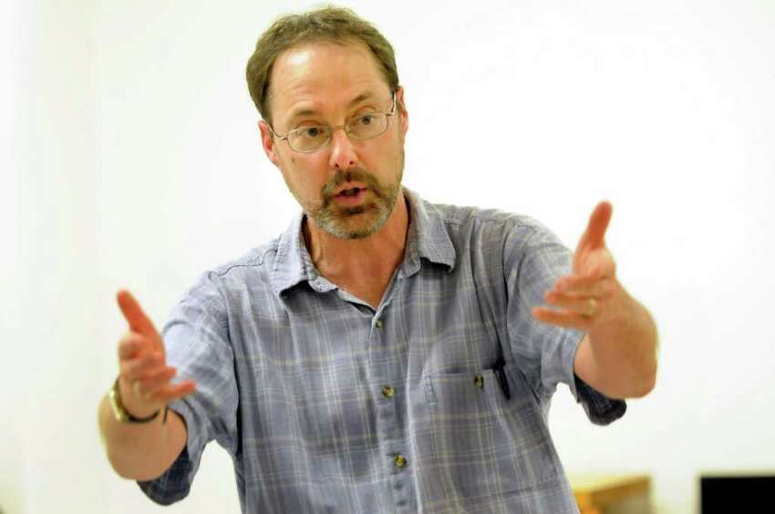 Jack Pickering, chair of communication disorders, leads a voice modification class for transgender clients on Monday, June 27, 2011, at the College of Saint Rose in Albany, N.Y. (Cindy Schultz / Times Union)