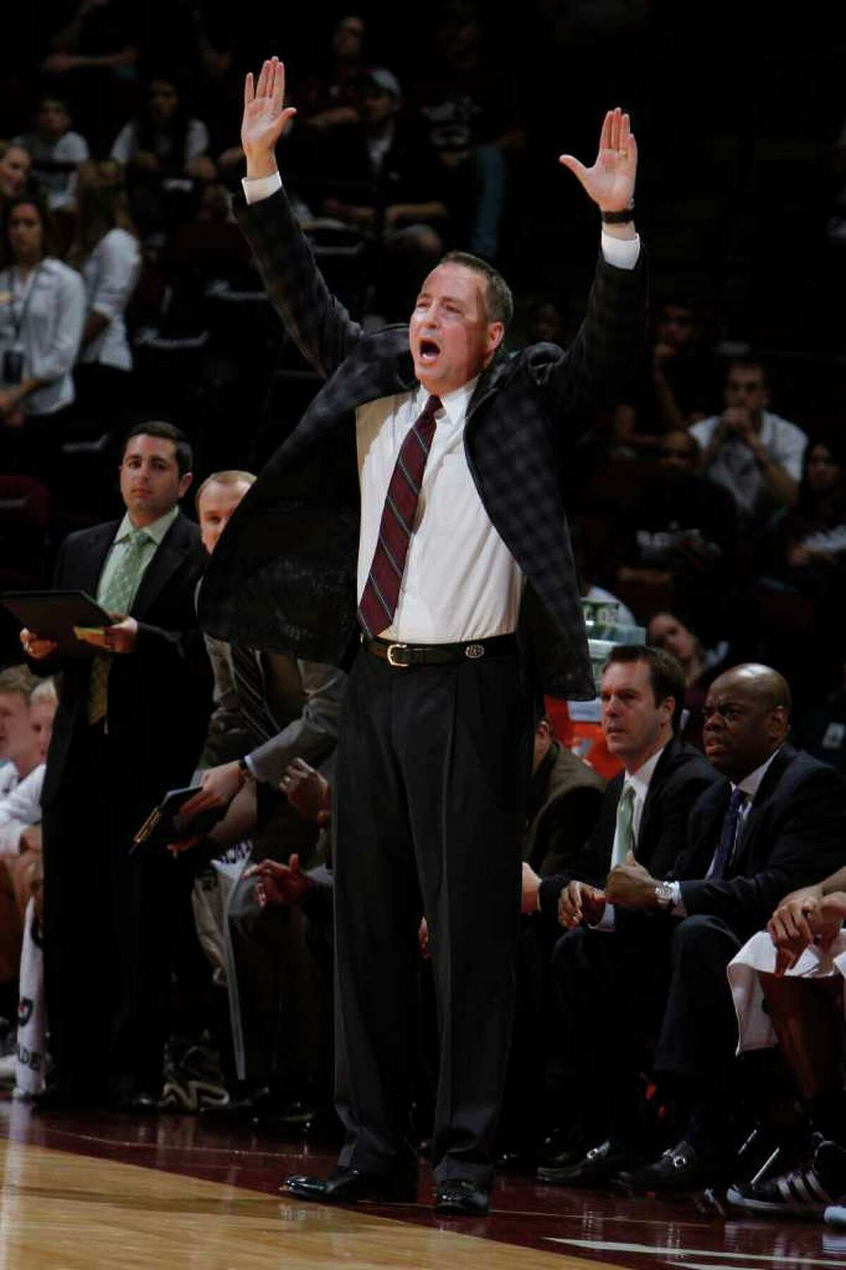 Texas A&M coach Billy Kennedy argues a call during the second half of an NCAA college basketball game against Stephen F. Austin, Saturday, Dec. 3, 2011, in College Station, Texas. Texas A&M won 55-42. (AP Photo/Jon Eilts)