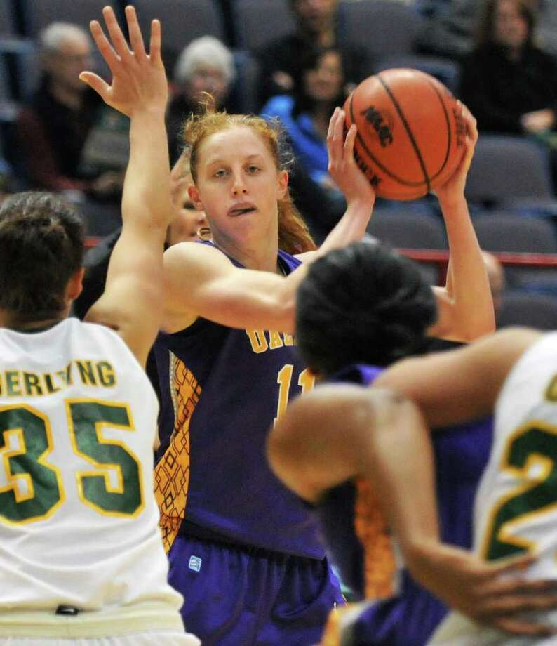 UAlbany's #11 Julie Forster controls the ball during the annual UAlbany -Siena women's game at the Times Union Center in Albany Dec. 3, 2011.   (John Carl D'Annibale / Times Union) Photo: John Carl D'Annibale / 00015589A