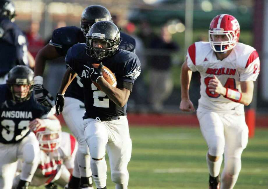 Ansonia High School's  # 2  Arkeel Newsome runs upfield during a 68 yard run during during second half action against Berlin High School at the CIAC football semifinals in Wallingford, Conn. on Saturday, Nov. 3, 2011. Ansonia won the game,  48-14. Photo: Mike Ross / Connecticut Post Freelance
