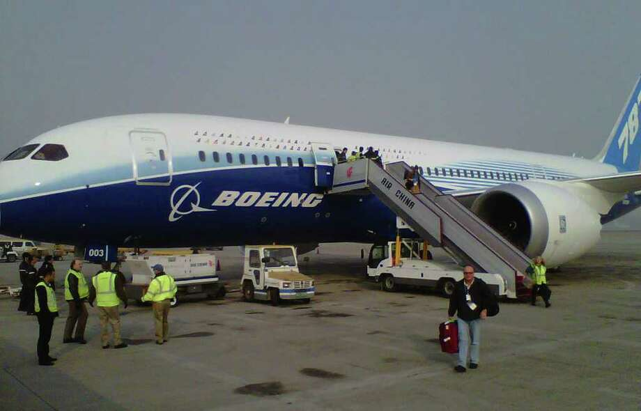 Boeing's third 787 Dreamliner arrived on Sunday, Dec. 4, 2011 at the Beijing Capital International Airport, making its debut in mainland China on the start of a six-month worldwide Dream Tour. Photo: Boeing
